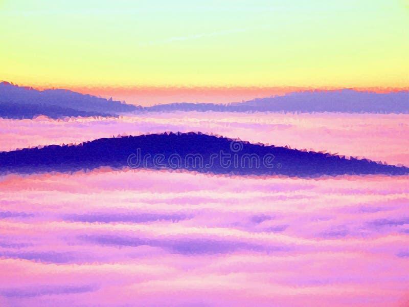polivinílico bajo Brumoso despertando en las colinas hermosas Los picos de colinas se están pegando hacia fuera de la niebla ilustración del vector