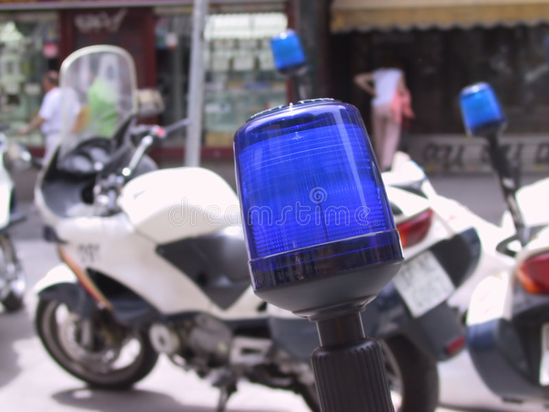 Polizei beleuchtet Motorrad lizenzfreies stockbild