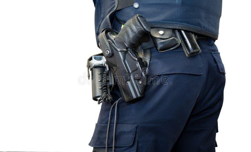 Polizei bemannt mit dem lokalisierten Gewehrgurt stockfotos