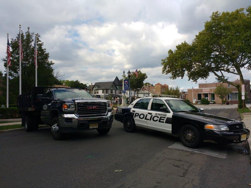 Polizei blockiert, öffentliche Sicherheit, Rutherford, NJ, USA lizenzfreies stockbild