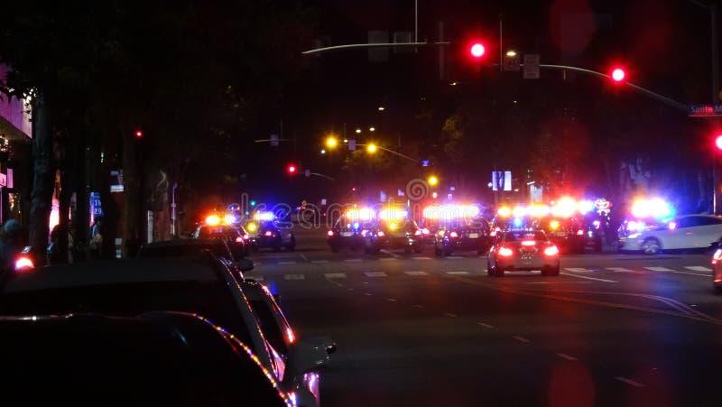 Polizei blockiert weg weg Santa Monica Blvd u. von Lincoln Blvd lizenzfreie stockfotos