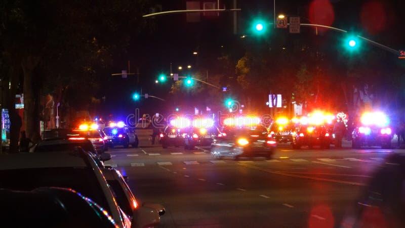Polizei blockiert weg weg Santa Monica Blvd u. von Lincoln Blvd lizenzfreies stockbild