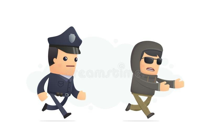 Polizei, die versucht, einen Verbrecher zu fangen vektor abbildung