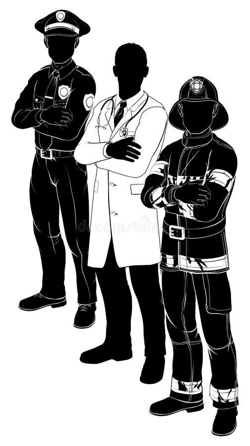 Polizei-Feuerwehrmann-Doktor Emergency Team Silhouettes vektor abbildung