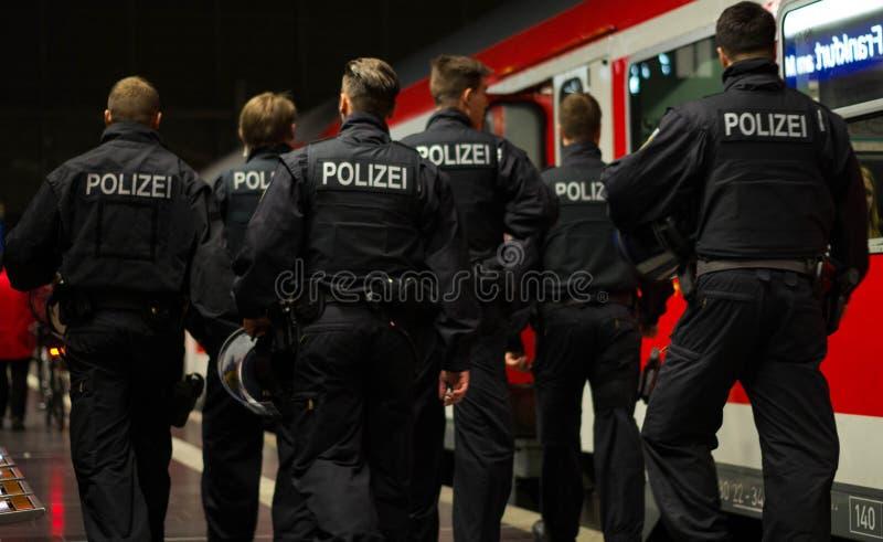 Polizei in Frankfurt am Main Hauptbahnhof royalty free stock photo