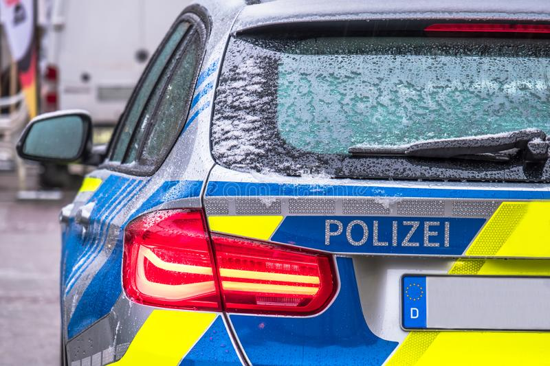 Polizei is the German word for police - Here written on the back of the police car royalty free stock photos