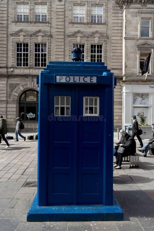 Polizei-Kasten in Glasgow Tardis, Dr. Who stockfotografie
