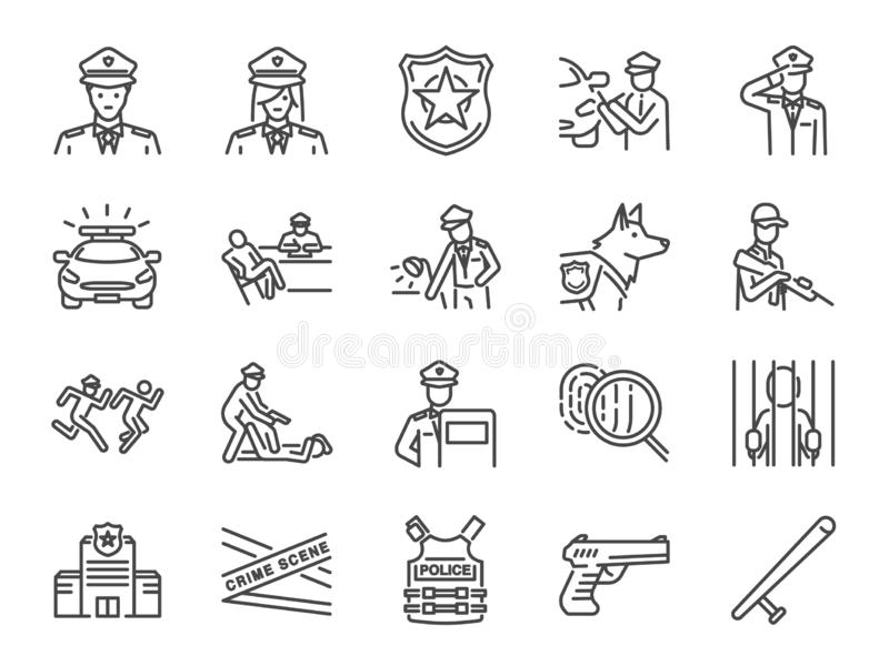 Polizei-Linie Ikonen-Satz Schloss die Ikonen als Spindel, Waffe, Verdächtige, Festnahme, Gerechtigkeit und mehr ein vektor abbildung