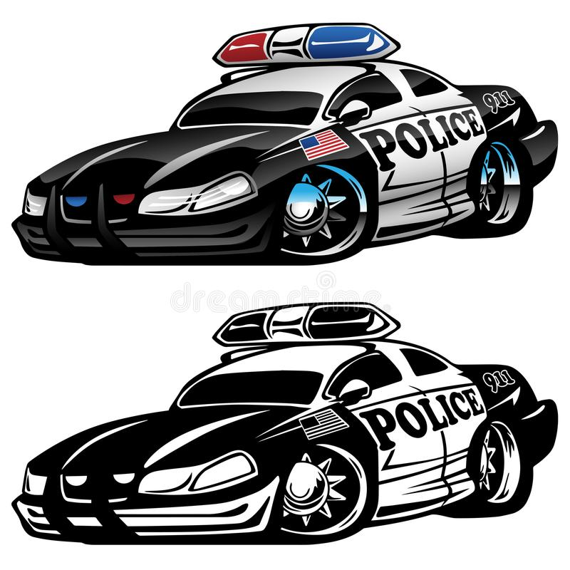 Polizei mischt Auto-Karikatur-Vektor-Illustration mit vektor abbildung