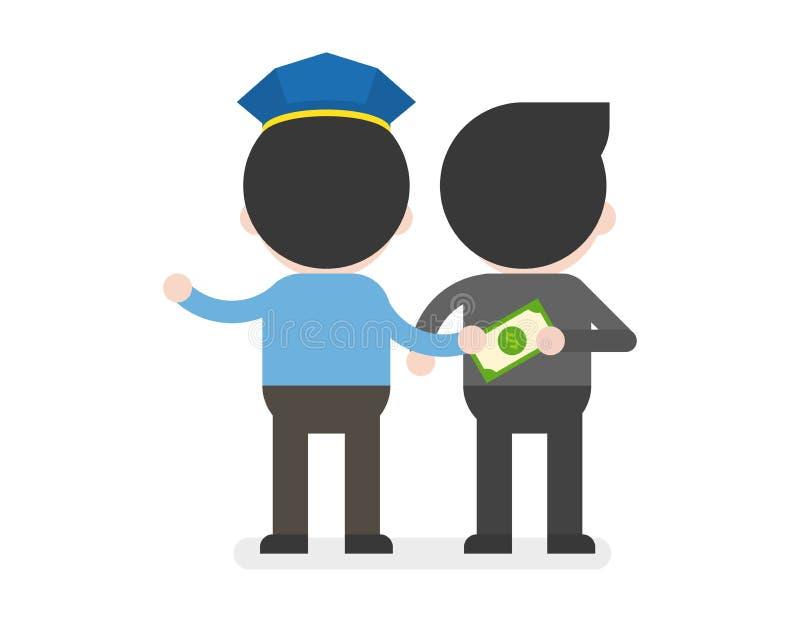 Polizei nimmt Geld vom Geschäftsmann an, die verdorbene Geschäftslage lizenzfreie abbildung