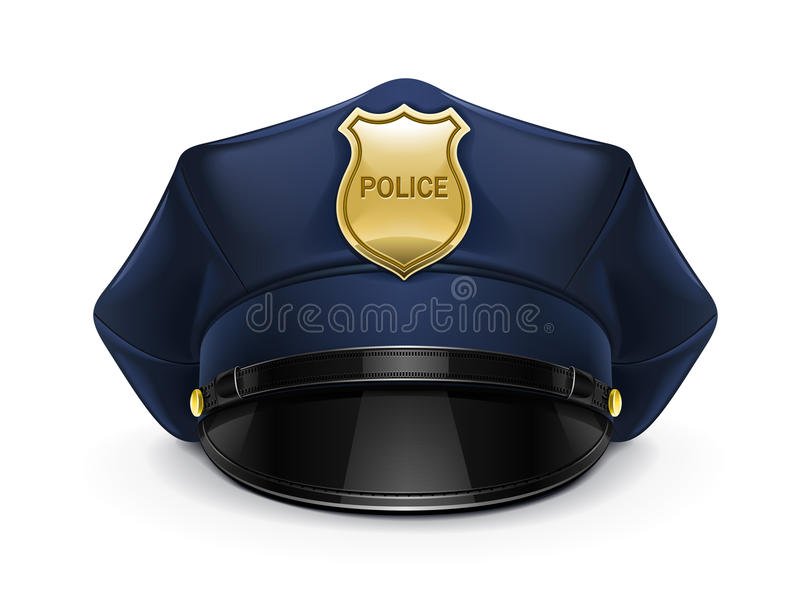 Polizei ragte Schutzkappe mit Cockade empor lizenzfreie abbildung