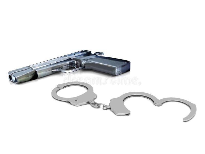 Polizei schießt und Handschellen vektor abbildung