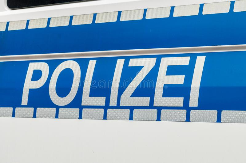 Polizei sign on german police car stock images