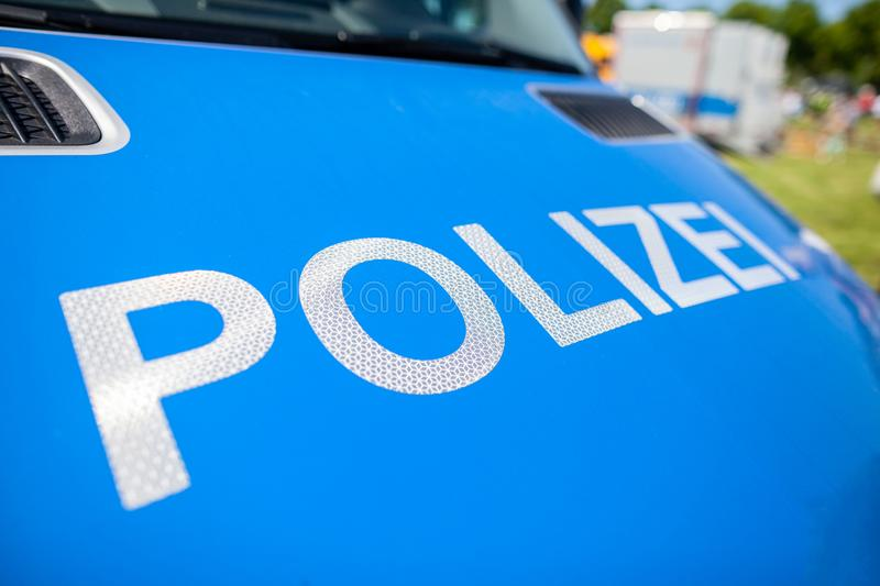 Polizei sign on a german police car stock photography