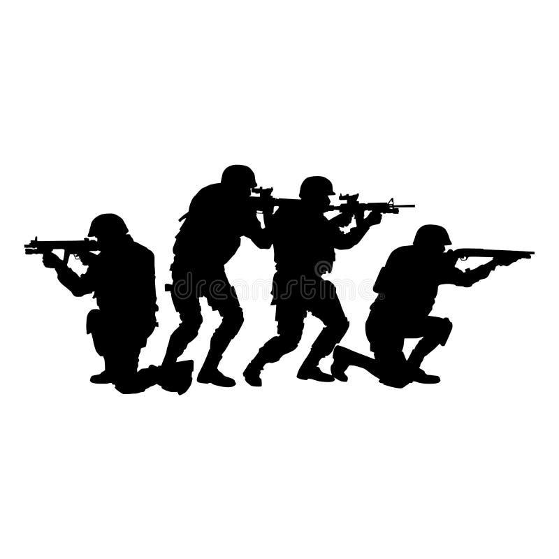 Polizei-SWAT-Team bewaffnete Kämpfervektorschattenbild stock abbildung