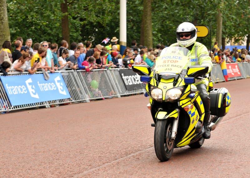 Polizei am Tour de France stockbild