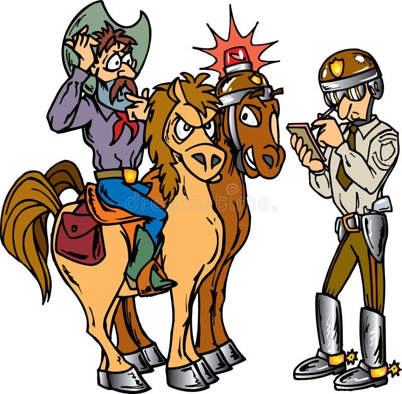 Polizei und Cowboy lizenzfreie abbildung