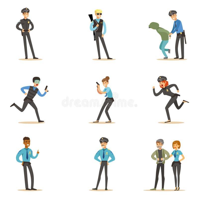 Polizei und Straßen-Patrouillen-glückliche Zeichentrickfilm-Figur-tragender Polizist-Uniform-Satz im Dienst vektor abbildung