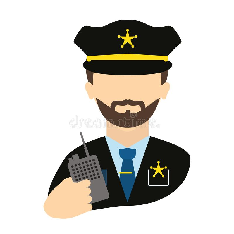 Polizeiagent mit Radioavataracharakter stock abbildung