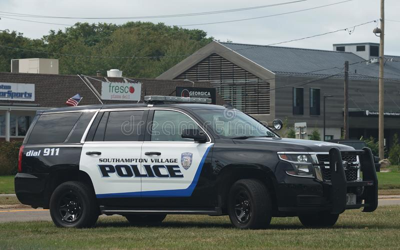 Polizeiamt Southampton in Southampton Village, Long Island stockfotos