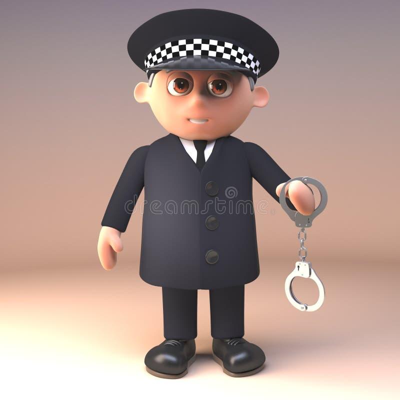Polizeibeamte 3d in einheitlichem im Dienst, ein Paar Handschellen, Illustration 3d halten lizenzfreie abbildung
