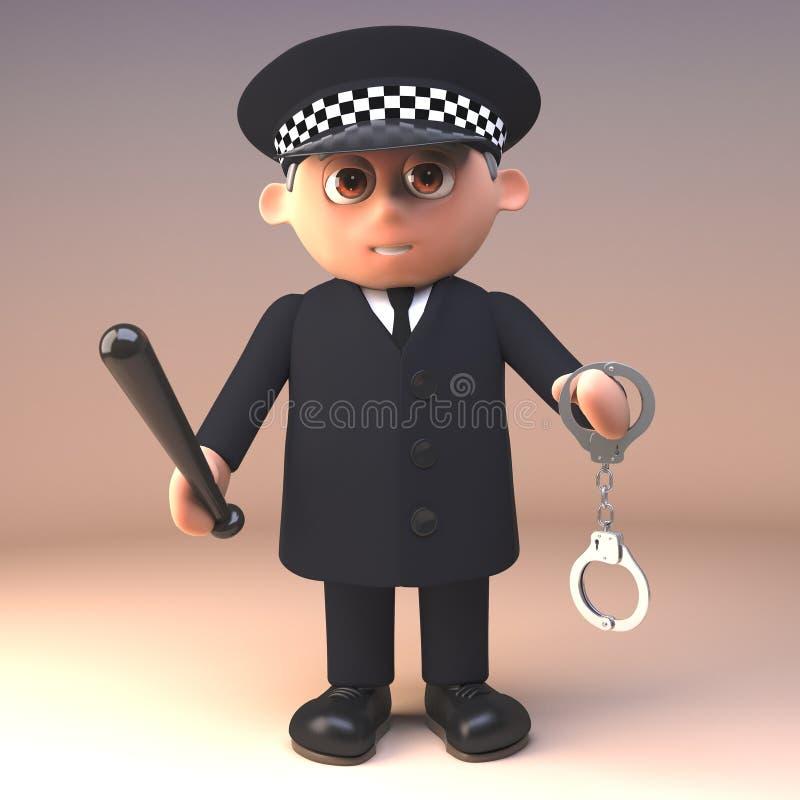 Polizeibeamte 3d in einheitlichem im Dienst, ein Paar von Handschellen und von Schlagstock, Illustration 3d halten lizenzfreie abbildung