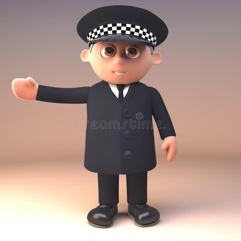 Polizeibeamte in den einheitlichen Gesten im Dienst rechts mit dem Arm ausgestreckt, Illustration 3d stock abbildung