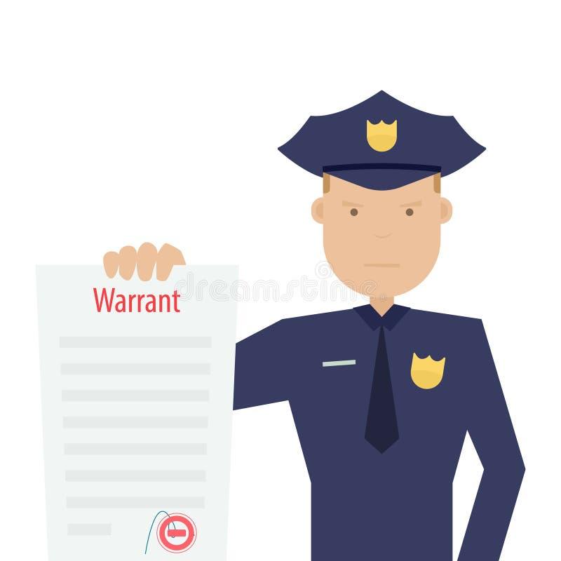 Polizeibeamte, der Haftbefehl hält stock abbildung