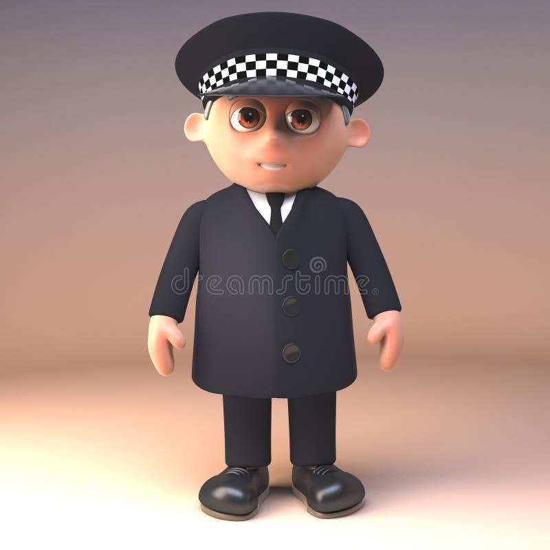 Polizeibeamte der Karikatur 3d in den einheitlichen Ständen im Dienst bereiten vor, um behilflich, Illustration 3d zu sein lizenzfreie abbildung