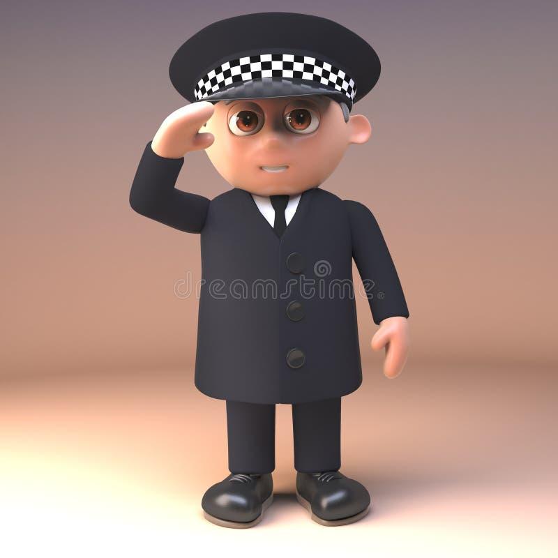 Polizeibeamte der Karikatur 3d im Dienst in den einheitlichen Ständen zur Aufmerksamkeit und zu den Grüßen, Illustration 3d vektor abbildung