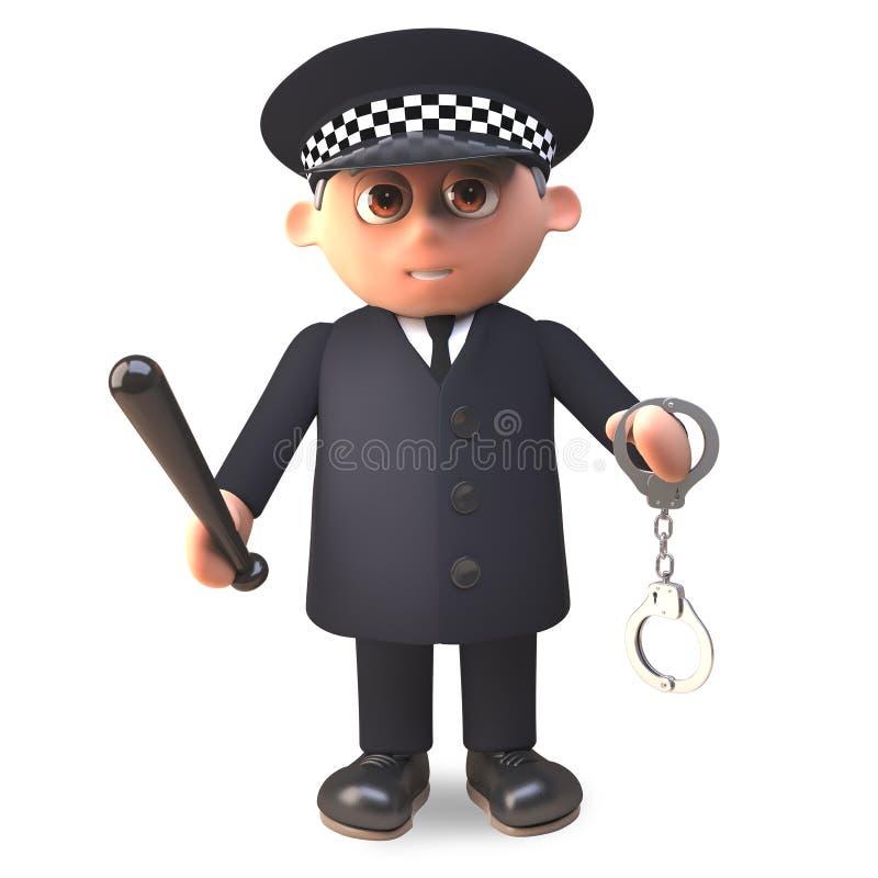 Polizeibeamte der Karikatur 3d im Dienst in den schwingenden Handschellen der Uniform und in Schlagstock, Illustration 3d stock abbildung