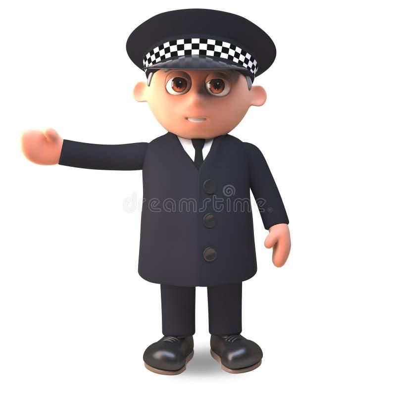 Polizeibeamte der Karikatur 3d in der Uniform gestikulierend rechts mit seinem Arm, Illustration 3d stock abbildung