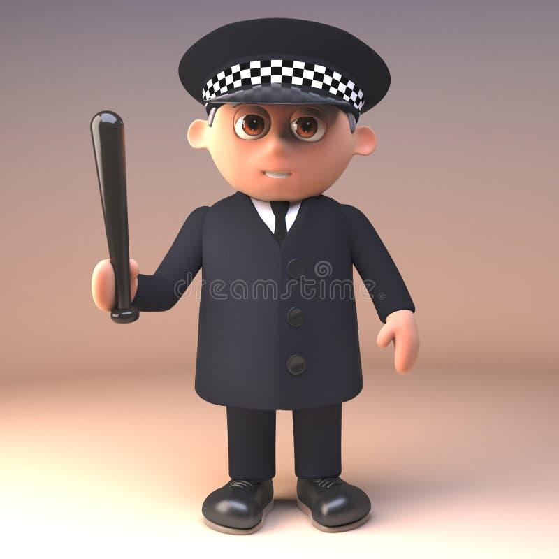 Polizeibeamte der Karikatur 3d in der Uniform im Dienst mit dem Taktstockschlagstock gezeichnet, Illustration 3d stock abbildung