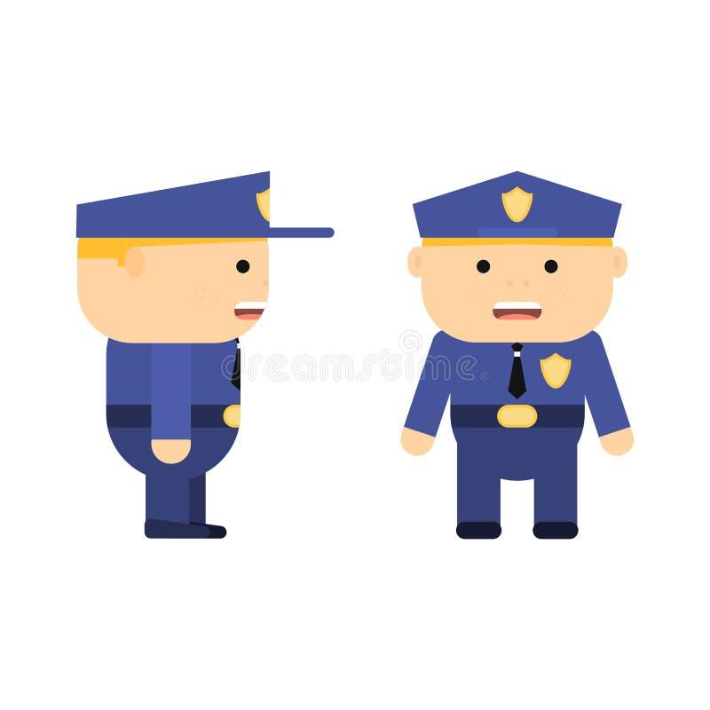 Polizeibeamte in der Karikaturart Flacher Polizist des Vektors Streifenpolizist in der Uniform Charakter für Spiel Junger Mann stock abbildung