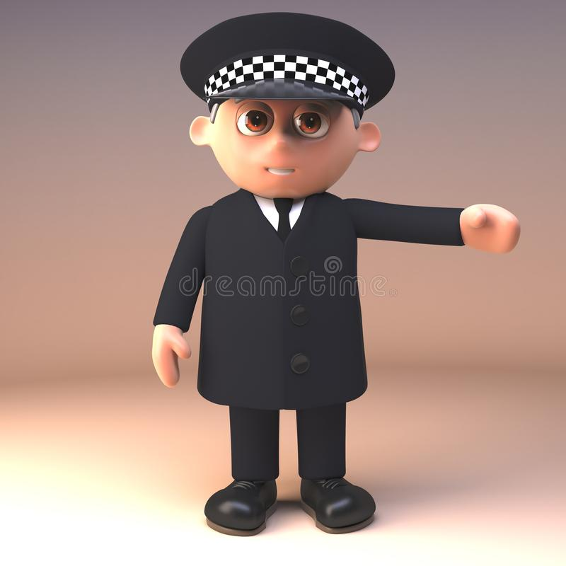 Polizeibeamte im Dienst und in den einheitlichen Gesten mit dem Arm nach links, Illustration 3d stock abbildung