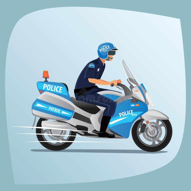 Polizeibeamte- oder Polizistreiten auf Motorrad vektor abbildung