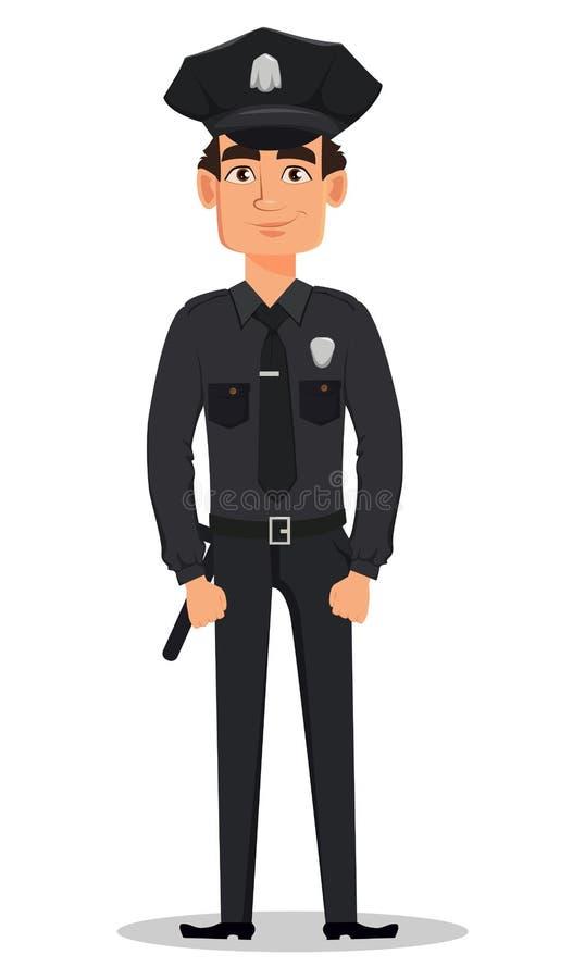 Polizeibeamte, Polizist, der gerade steht Lächelnde Zeichentrickfilm-Figur-Bulle vektor abbildung