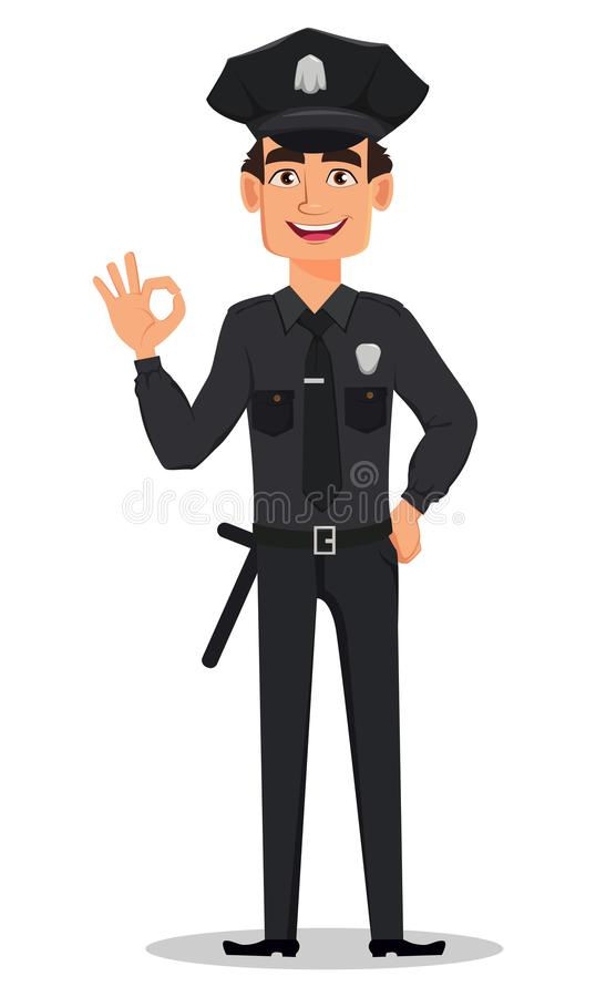 Polizeibeamte, Polizist, der okayzeichen zeigt Lächelnde Zeichentrickfilm-Figur-Bulle vektor abbildung