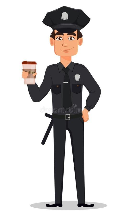 Polizeibeamte, Polizist mit einem Tasse Kaffee Lächelnde Zeichentrickfilm-Figur-Bulle lizenzfreie abbildung