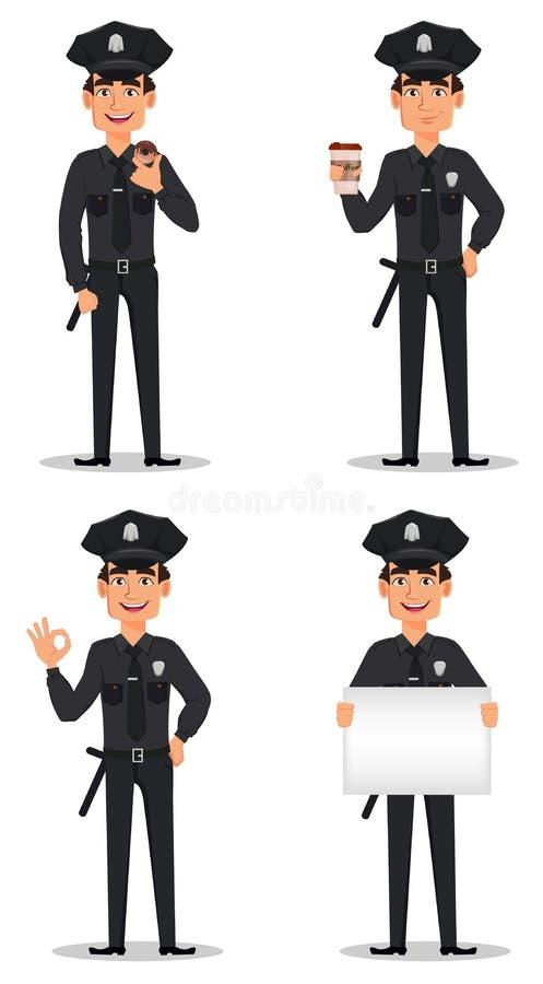 Polizeibeamte, Polizist Satz der Zeichentrickfilm-Figur-Spindel stock abbildung
