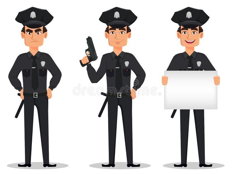 Polizeibeamte, Polizist Satz der Zeichentrickfilm-Figur-Spindel verärgert, mit einem Gewehr und mit Plakat lizenzfreie abbildung