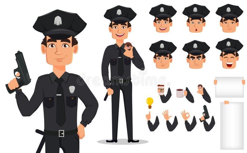 Polizeibeamte, Polizist Satz Körperteile und Gefühle stock abbildung