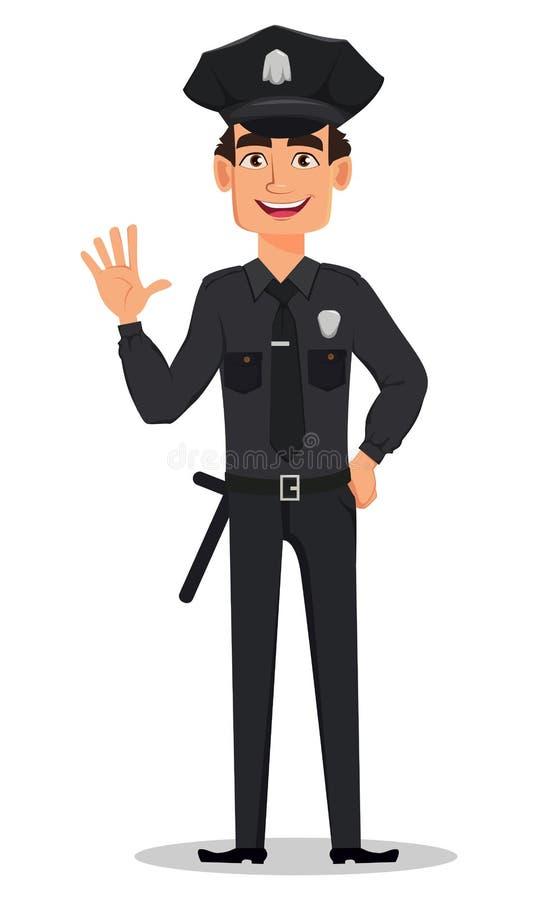 Polizeibeamte, wellenartig bewegende Hand des Polizisten Lächelnde Zeichentrickfilm-Figur-Bulle stock abbildung