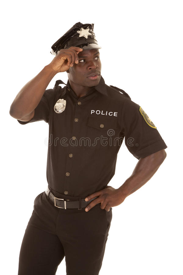 Polizeibeamteblick zurück lizenzfreies stockfoto