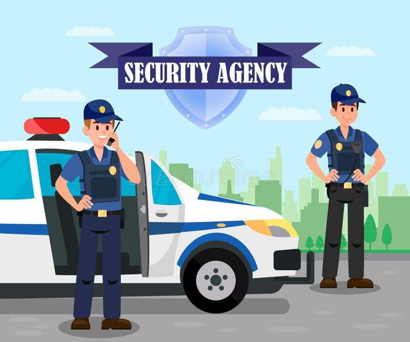 Polizeibeamten auf Auftrag-flacher Farbillustration lizenzfreie abbildung