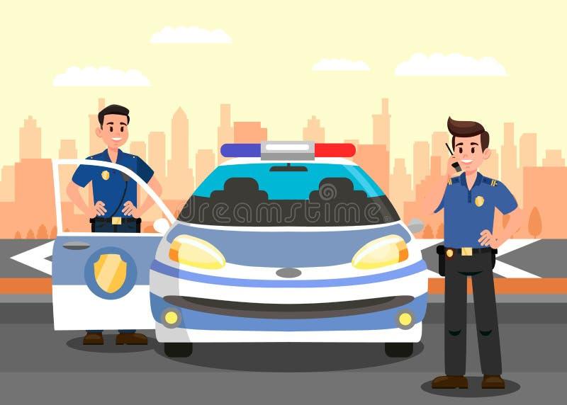 Polizeibeamten und Auto-flache Vektor-Illustration lizenzfreie abbildung
