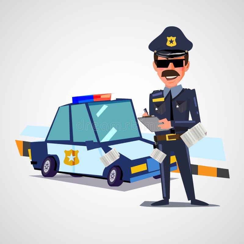 Polizeibeamteschreibenskarte mit Polizeiwagen Charakterdesign lizenzfreie abbildung