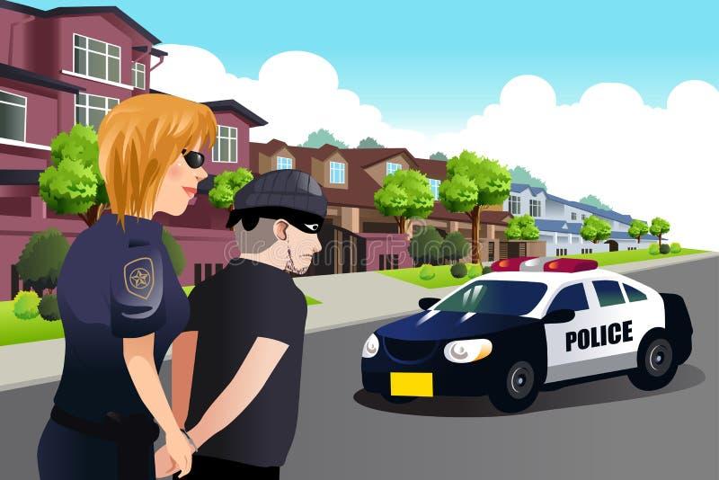 Polizeibeamtin, die einen Verbrecher festnimmt lizenzfreie abbildung
