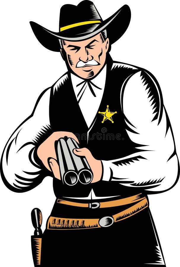 Polizeichef, der eine Schrotflinte auf Sie zeigt stock abbildung