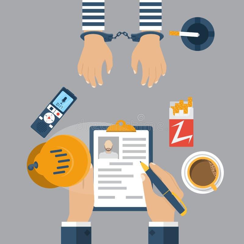 Polizeidetektiv, der einen Gefangenen in den Handschellen verhört lizenzfreie abbildung